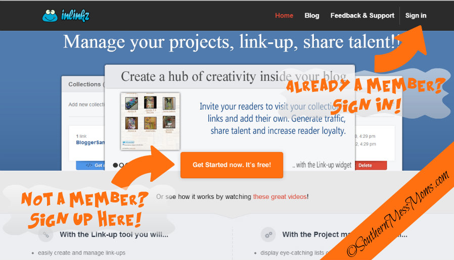 inlinkz sign up page